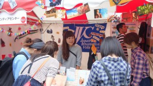 Craft sale and public relations at the JVC booth in Global Festa.