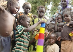 Children at a refugee camp in South Sudan