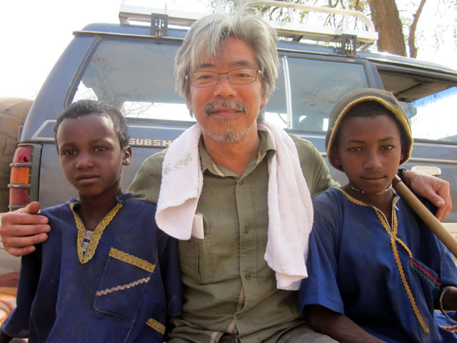 Hiroshi Taniyama, JVC's President, on official trip to Sudan, neighboring to South Sudan. This photo was taken in 2011.